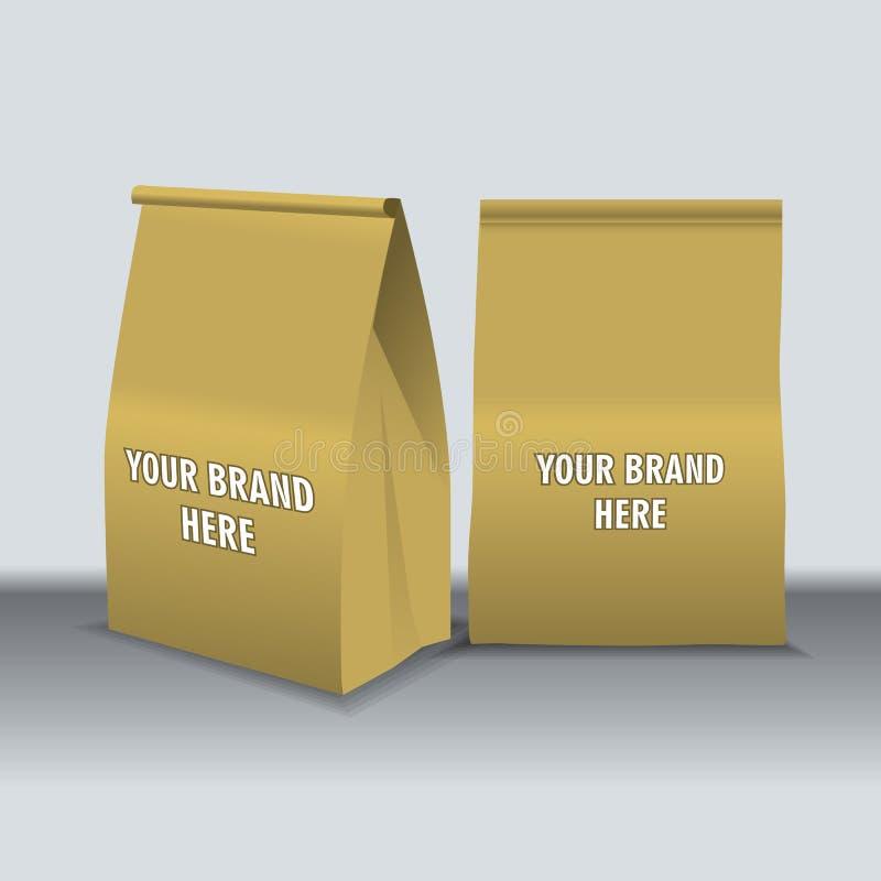Le vecteur de Digital réutilisent des sacs de nourriture de papier brun illustration libre de droits