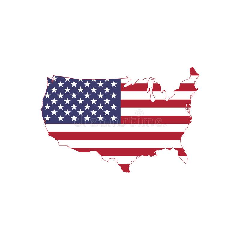 Le vecteur de drapeau américain sur la carte américaine, Etats-Unis tracent avec le drapeau illustration de vecteur