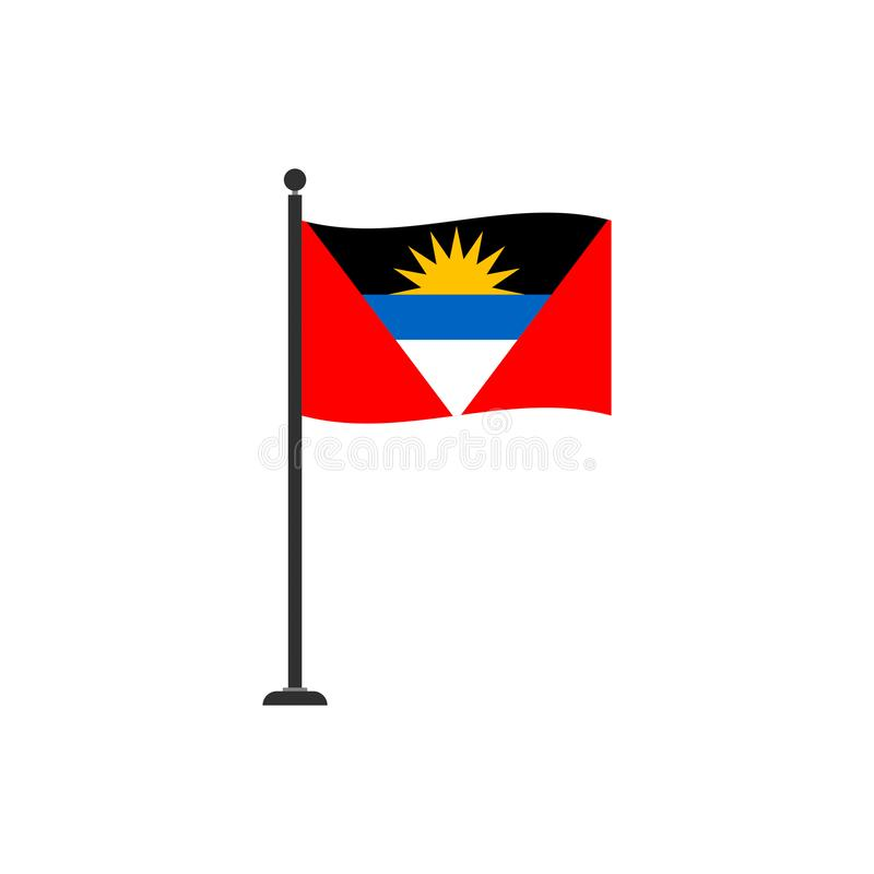 Le vecteur de drapeau de l'Antigua Barbuda a isolé 4 illustration stock