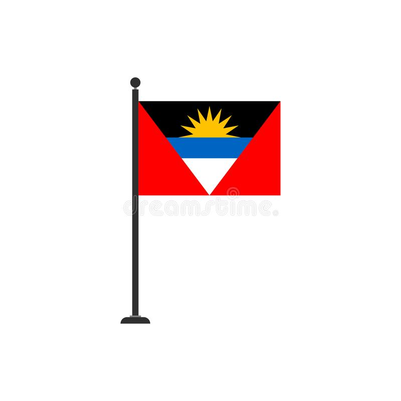 Le vecteur de drapeau de l'Antigua Barbuda a isolé 3 illustration libre de droits