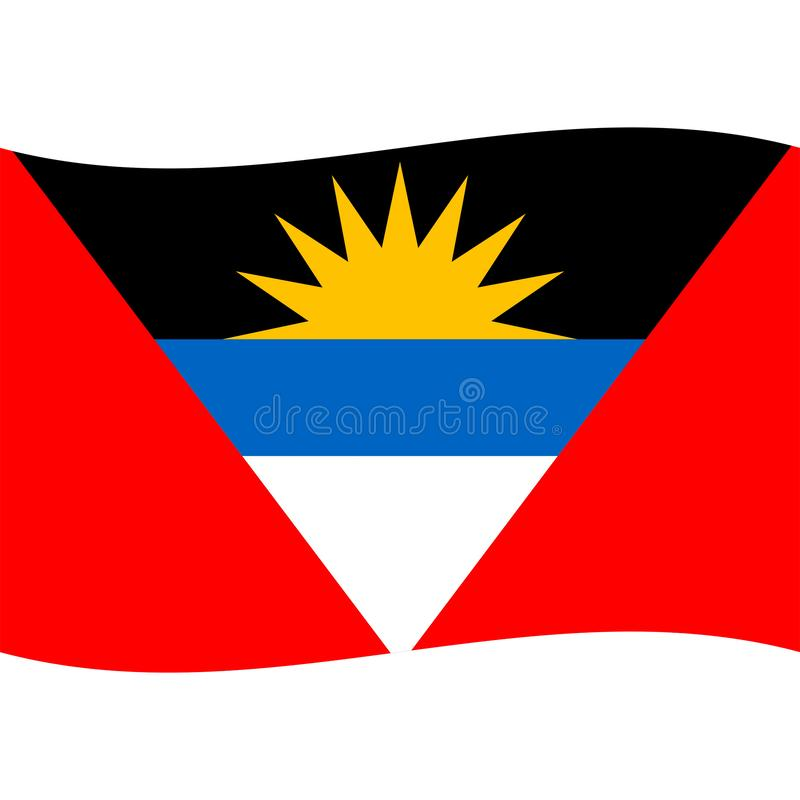 Le vecteur de drapeau de l'Antigua Barbuda a isolé 2 illustration stock