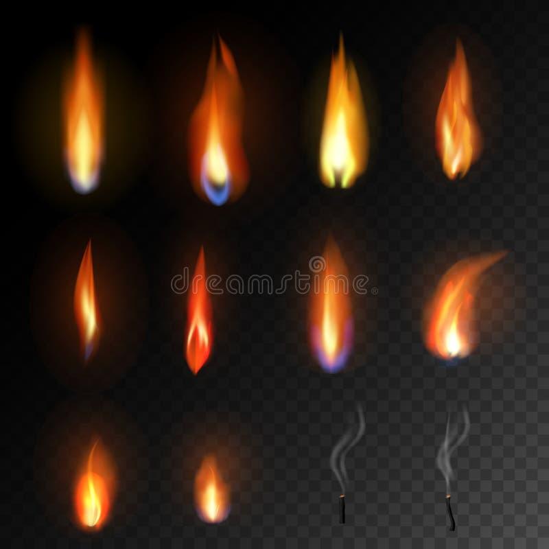 Le vecteur de flamme de bougie a mis le feu à la brûlure lumineuse de lueur d'une bougie de flamber et d'ensemble flamy ardent in illustration libre de droits