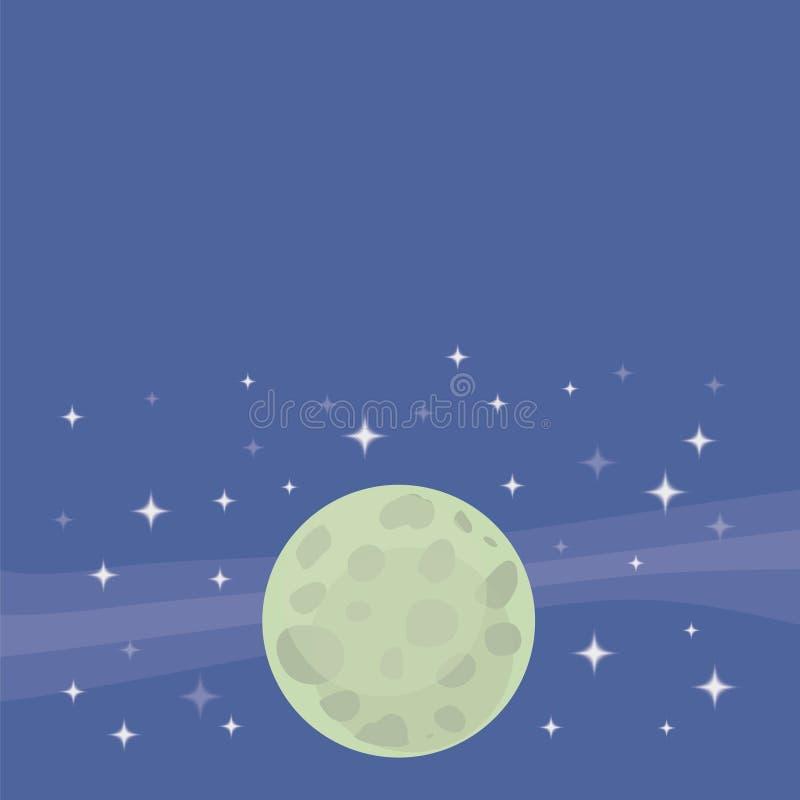 Le vecteur de fond avec la planète vert pâle de lune sur un fond de ciel cosmique bleu avec le blanc quadrangulaire tient le prem illustration libre de droits