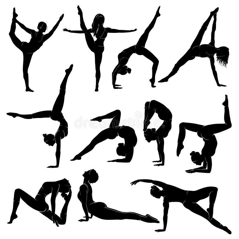 Le vecteur de forme physique de femmes a placé avec du yoga, des pilates, la séance d'entraînement et l'aérobic illustration stock