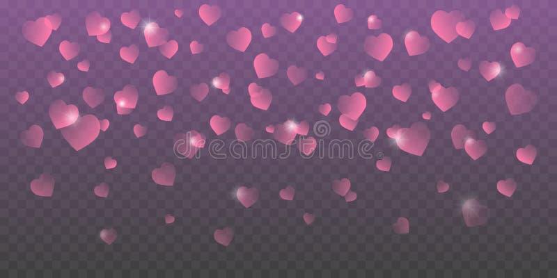 Le vecteur de jour de valentines avec le rose a ombragé les coeurs en baisse sur le fond transparent illustration libre de droits