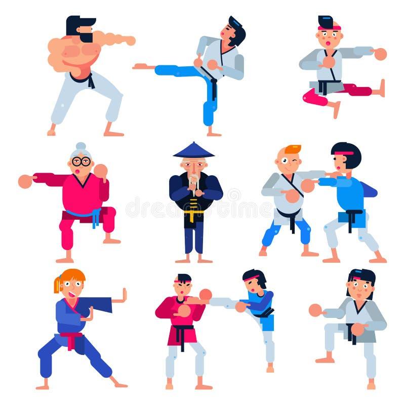 Le vecteur de karaté martial karaté-illustration d'attaque de formation de caractère placent de l'homme ou femme et personnes âgé illustration libre de droits