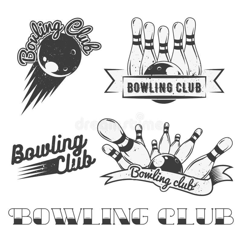 Le vecteur de logo de club de bowling a placé dans le style de vintage Labels, insignes et emblèmes Grève, boules, quilles illustration libre de droits