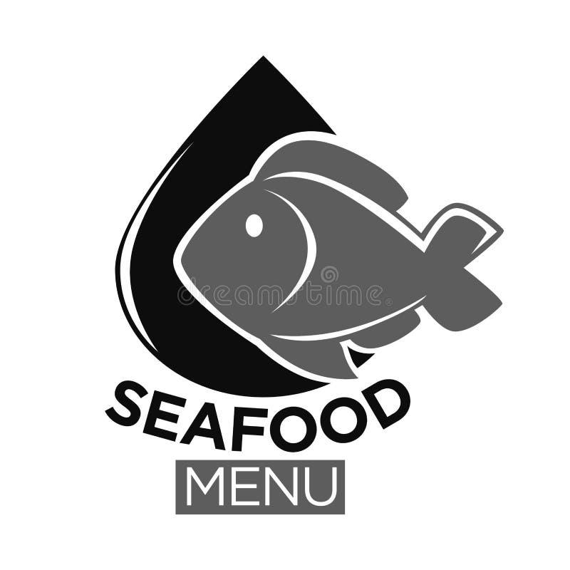 Le vecteur de marché de nourriture de fruits de mer ou de poisson frais a isolé l'icône illustration libre de droits