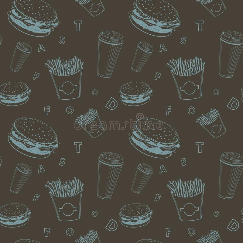 Le vecteur de nourriture de café a placé le modèle noir et bleu de monogramme de prêt-à-manger illustration stock