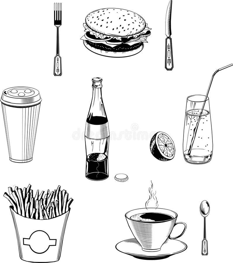 Le vecteur de nourriture de café a placé le monogramme noir de prêt-à-manger illustration libre de droits