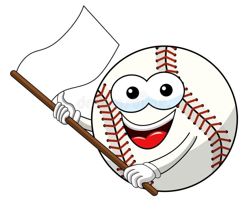 Le vecteur de ondulation de drapeau blanc de bande dessinée de mascotte de caractère de boule de base-ball a isolé illustration stock