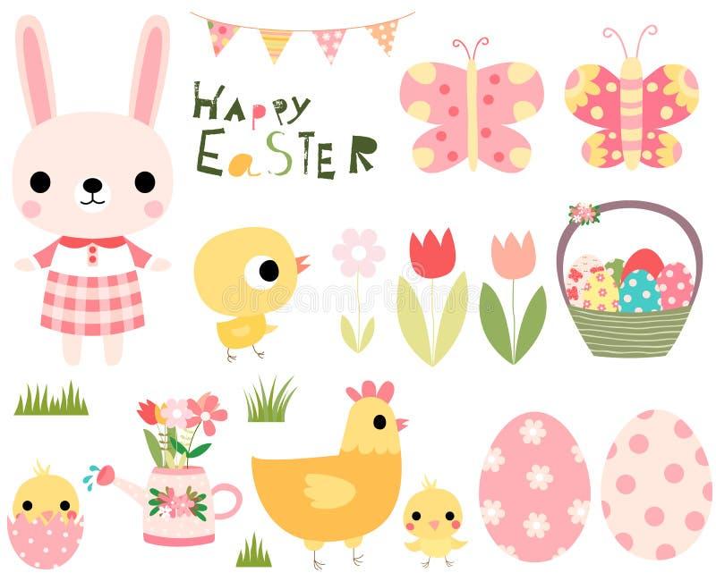 Le vecteur de Pâques a placé avec le lapin mignon, poussins, poule illustration stock