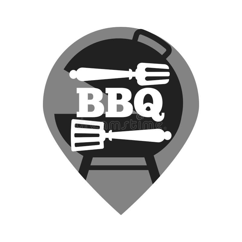 Le vecteur de pique-nique de vacances d'été de partie de barbecue ou de gril a isolé l'icône des couverts de BBQ illustration libre de droits