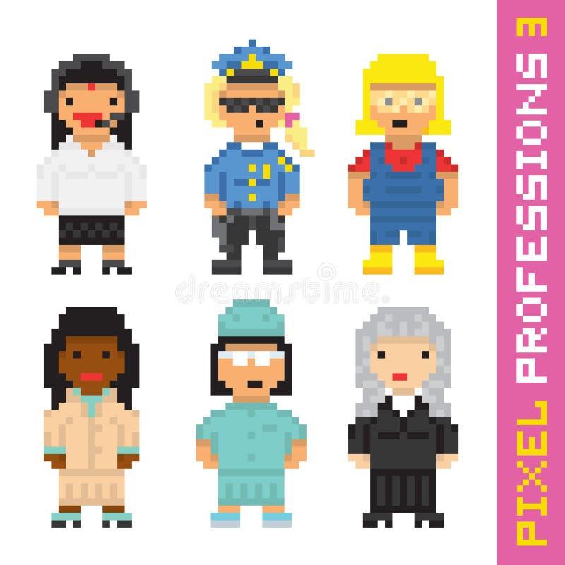 Le vecteur de professions de style d'art de pixel a placé 3 illustration de vecteur
