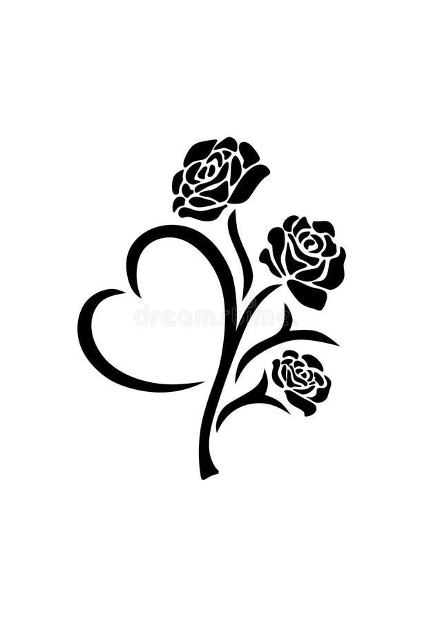 Le vecteur de silhouette des roses noires fleurissent dans le style de tatouage avec la feuille en forme de coeur d'isolement sur illustration de vecteur