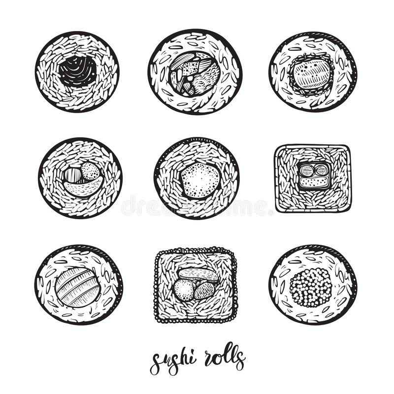 Le vecteur de sushi roule l'illustration Ligne croquis de Maki sur le fond blanc illustration libre de droits