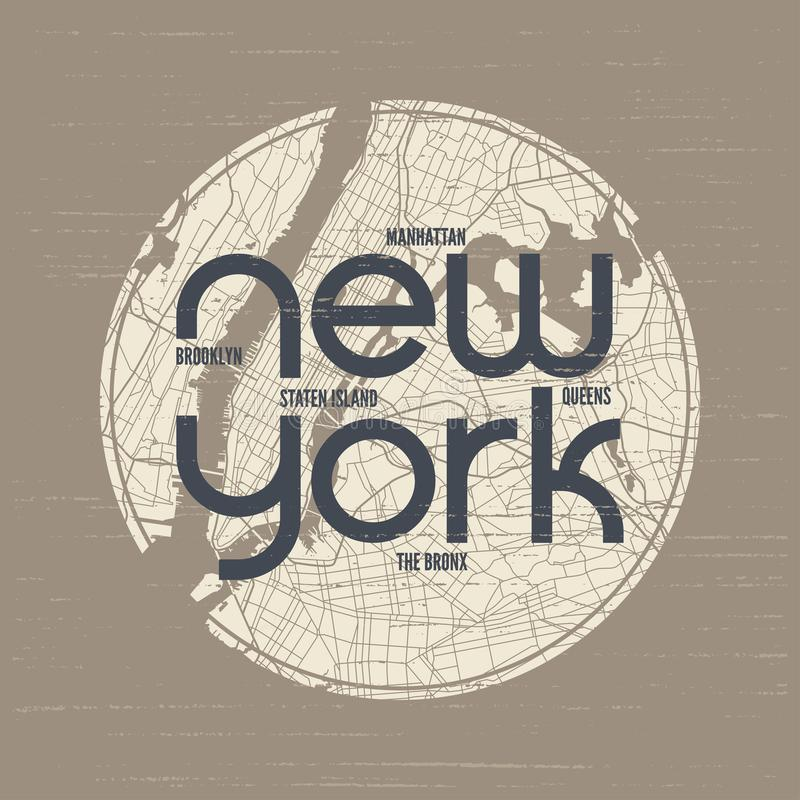 Le vecteur de T-shirt et d'habillement de New York conçoivent, impriment, la typographie, p illustration libre de droits