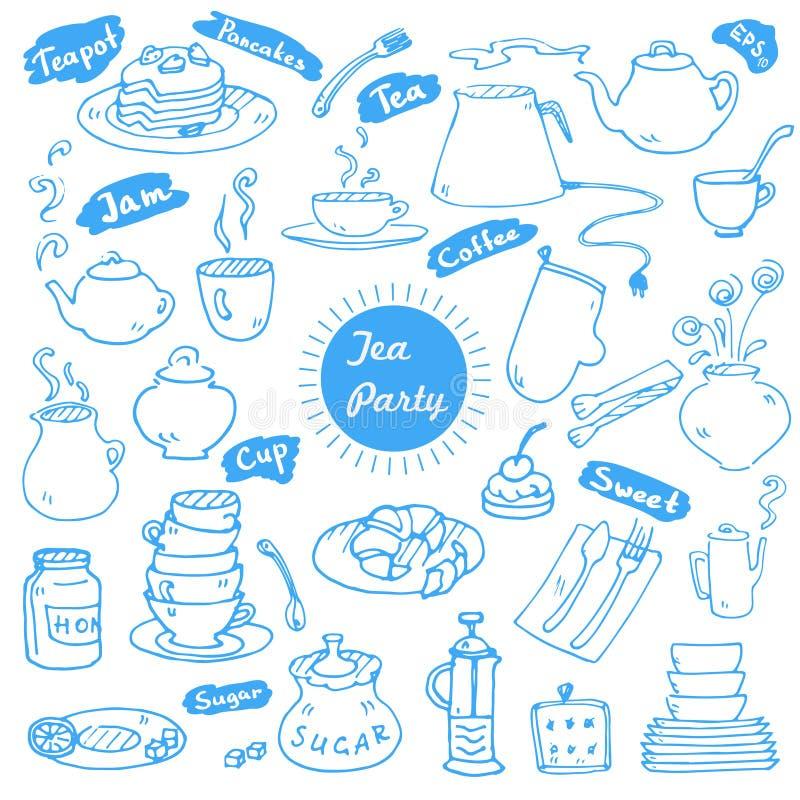 Le vecteur de thé gribouille la collection illustration stock