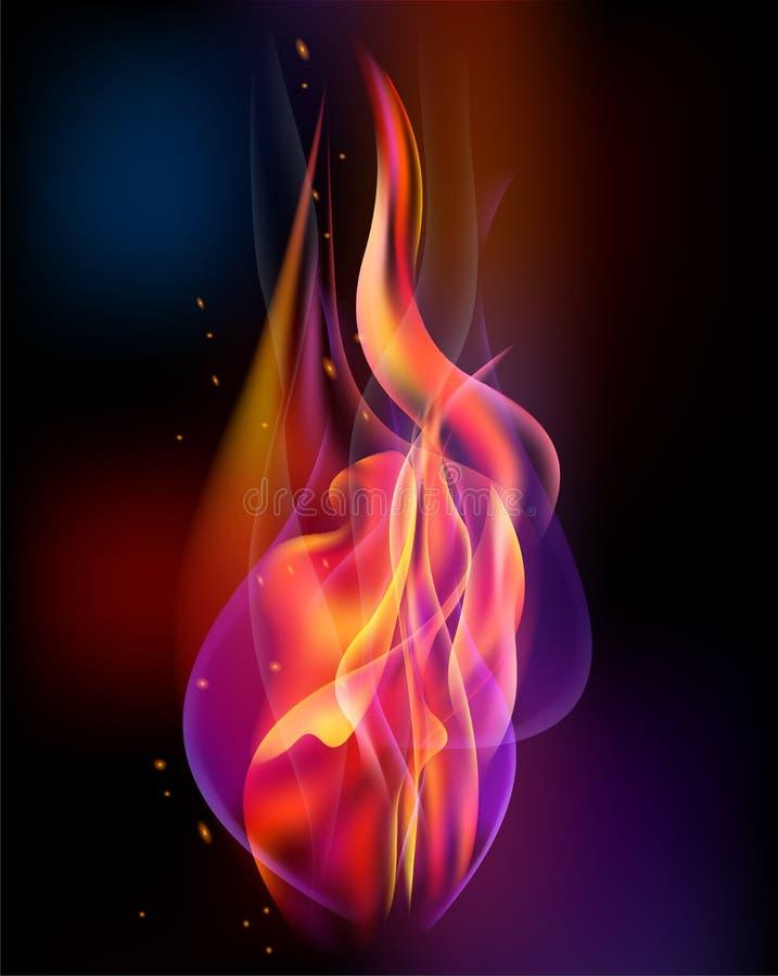 Le vecteur de torche du feu a coloré la brûlure d'étincelles illustration libre de droits