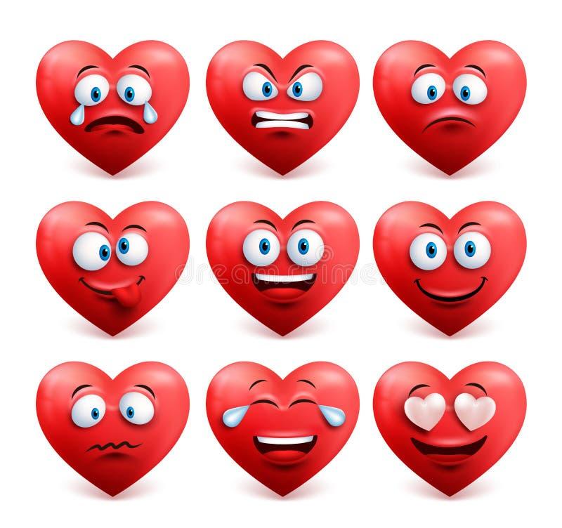 Le vecteur de visage de coeur a placé dans la couleur rouge avec des expressions du visage drôles illustration libre de droits