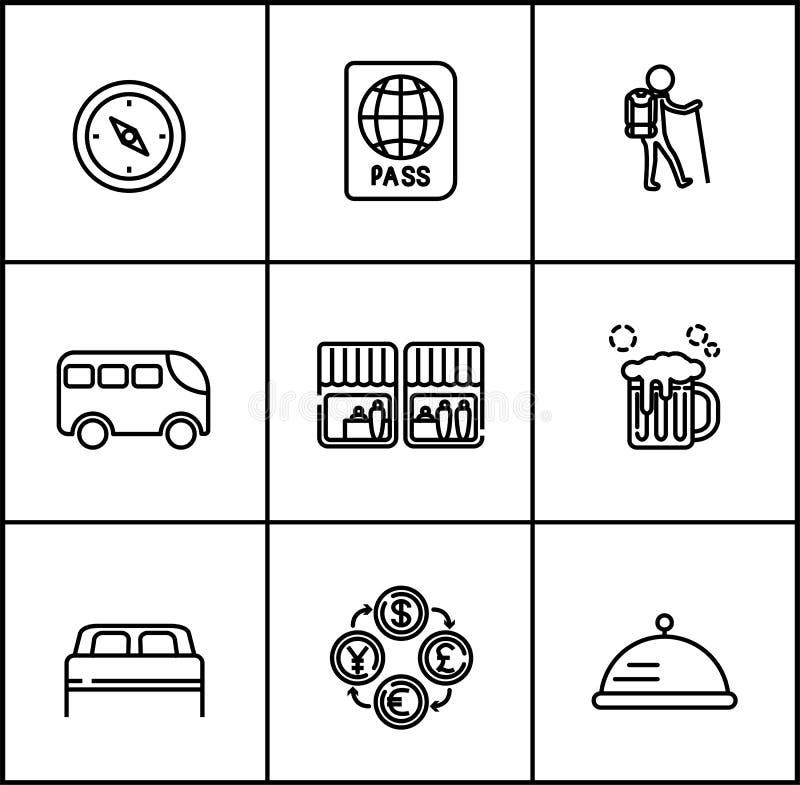 Le vecteur de voyage raye le style plat d'icônes sur le fond blanc illustration de vecteur