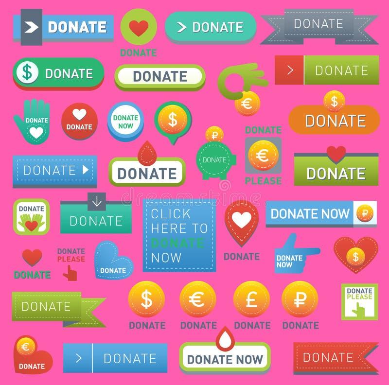 Le vecteur donnent l'argent de main humain d'aide de boutons réglé dans le style de Web Le cadeau de donation boutonne la charité illustration de vecteur