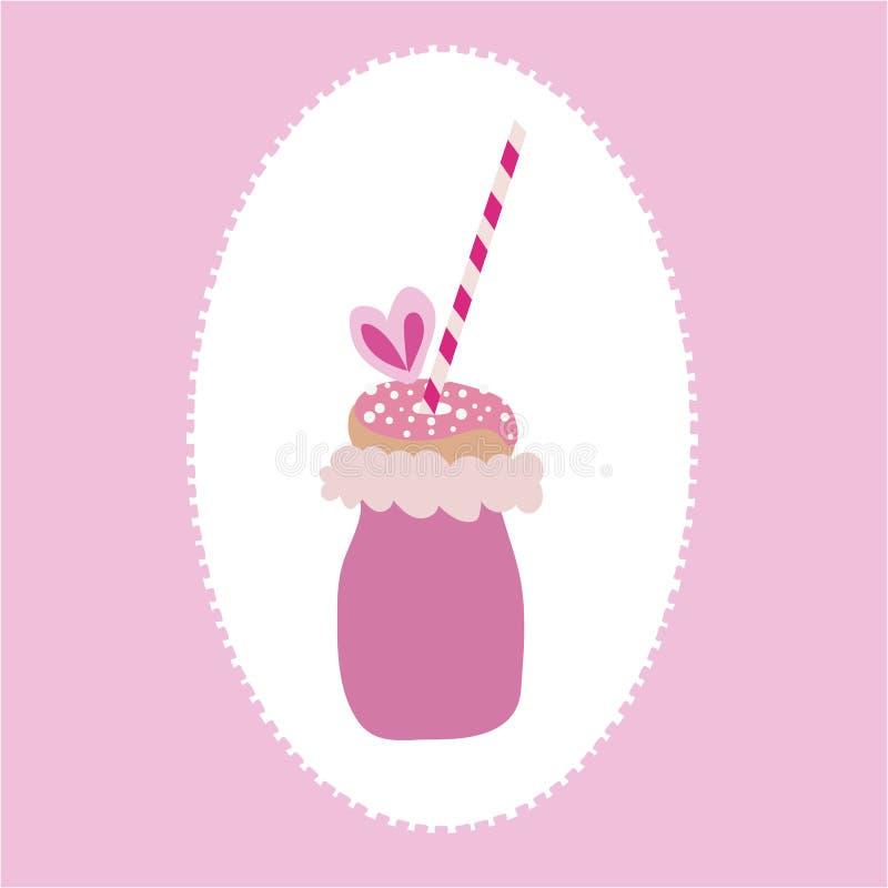 Le vecteur du freakyshake à la mode avec la sucrerie de coton, beignet avec arrose, et une paille sur un fond de rose et blanc illustration libre de droits