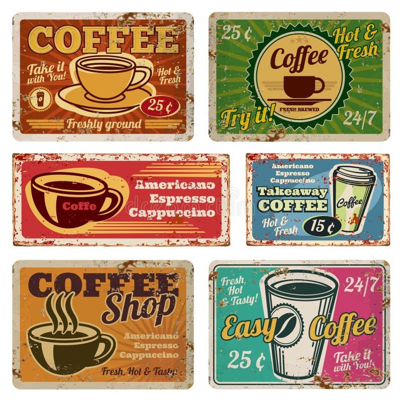 Le vecteur en métal de café et de café de vintage signe dedans le vieux style des années 1940 illustration libre de droits