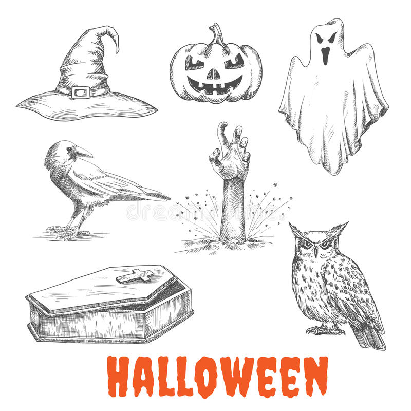 Le vecteur a esquissé des éléments de célébration de Halloween illustration libre de droits