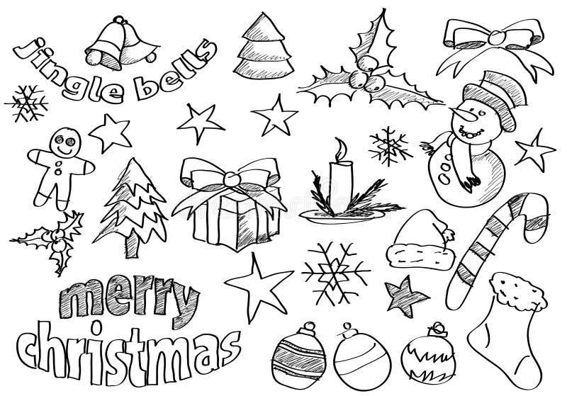 Le vecteur a esquissé des graphismes de Noël illustration stock
