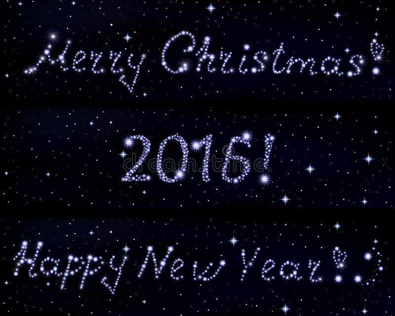 Le vecteur exprime le Joyeux Noël ! , 2016 et bonne année ! écrit en étoiles sur le fond étoilé de l'espace illustration stock