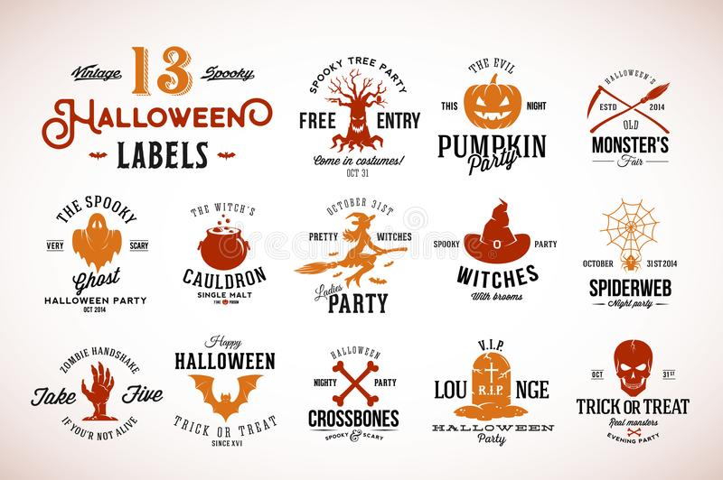 Le vecteur fantasmagorique de Halloween du vintage treize Badges, les labels ou le Logo Templates Potiron, Ghost, crâne, os, batt illustration stock
