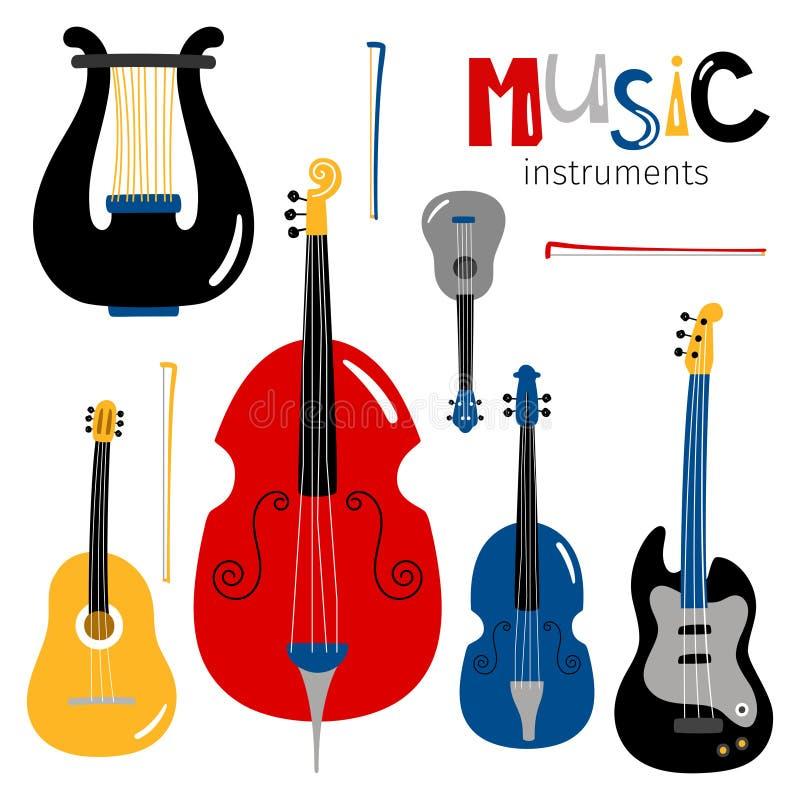 Le vecteur a ficelé des icônes d'instruments de musique d'isolement sur le fond blanc illustration libre de droits