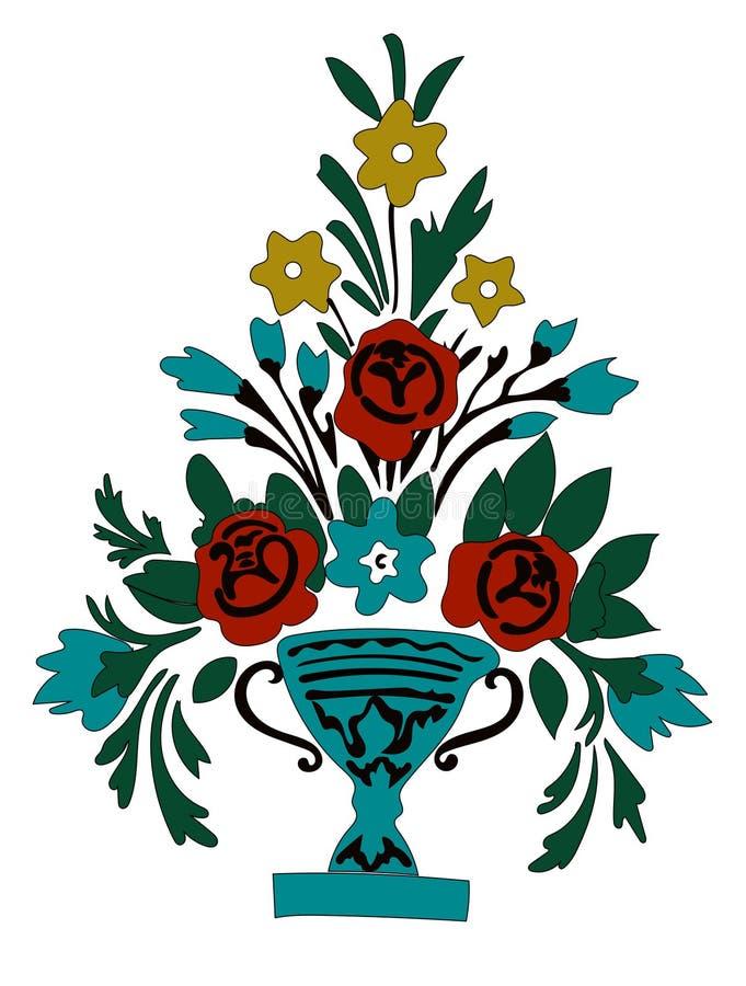Le vecteur fleurit le bouquet dans le vase illustration de vecteur