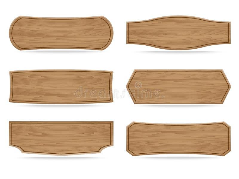 Le vecteur forme le panneau en bois de signe illustration libre de droits