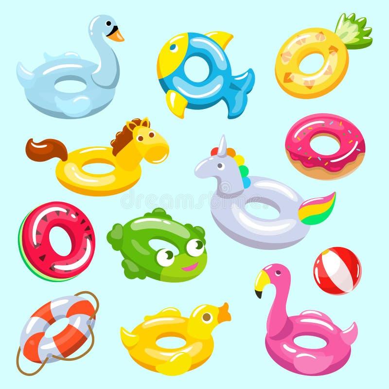 Le vecteur gonflable a gonflé l'anneau et le vie-anneau de natation dans la piscine pour l'ensemble d'illustration de vacances d' illustration stock