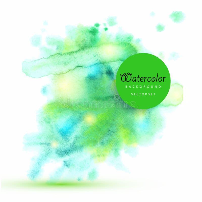 Le vecteur humide de peinture de brosse d'aquarelle verte a isolé la tache sur le fond blanc pour la conception des textes, Web,  illustration stock