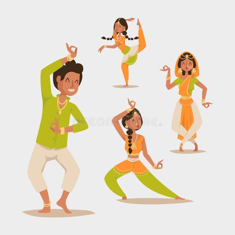 Le vecteur indien de danse d'homme de femme a isolé le film de partie d'exposition de danse d'Inde de personnes d'icônes de silho illustration libre de droits