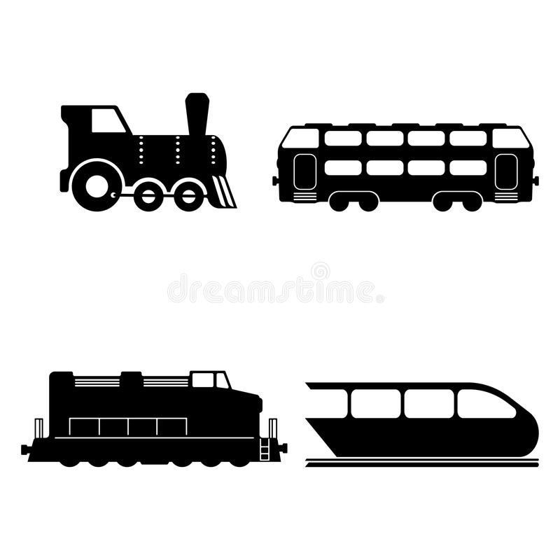 Le vecteur a isolé des silhouettes de trains réglées illustration libre de droits