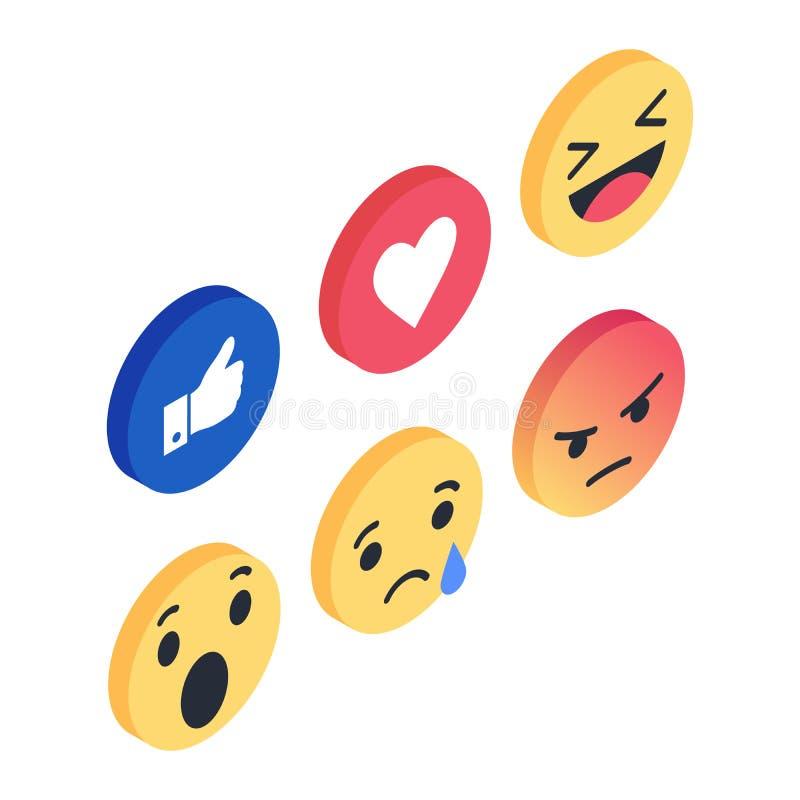 Le vecteur isométrique réglé de réactions d'Emoji aiment l'icône sociale Bouton pour exprimer des smiley sociaux illustration de vecteur