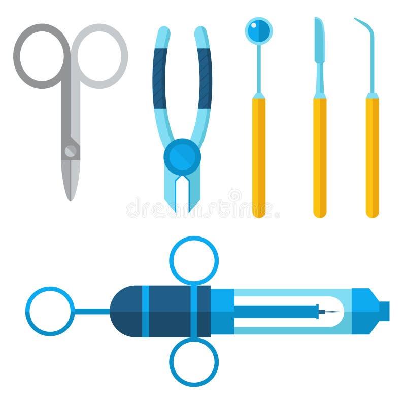 Le vecteur médical de dentiste usine l'illustration dentaire de clinique d'implantation de stomatologie d'instrument de médecine  illustration stock