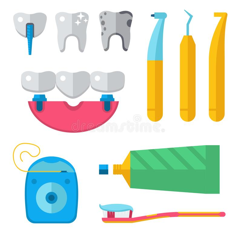 Le vecteur médical de dentiste usine l'illustration dentaire de clinique d'implantation de stomatologie d'instrument de médecine  illustration de vecteur