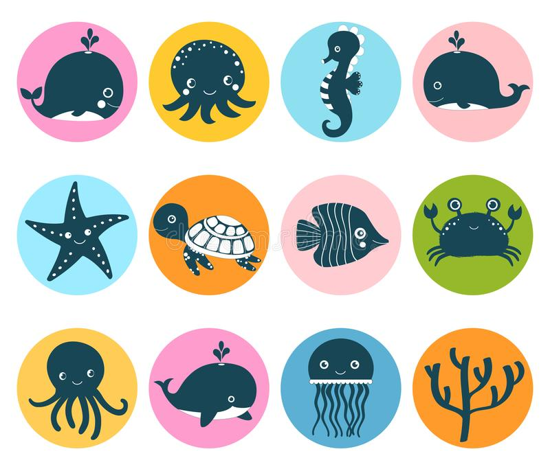 Le vecteur mignon a placé avec des icônes d'animal de mer en cercles de couleur illustration libre de droits