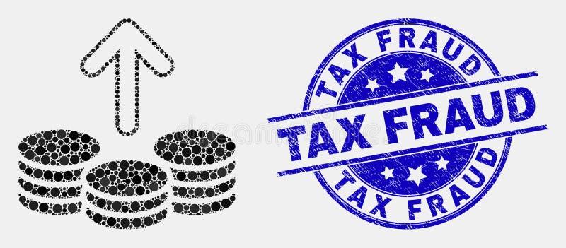 Le vecteur Pixelated dépensent invente l'icône et le timbre grunge de fraude fiscale illustration de vecteur