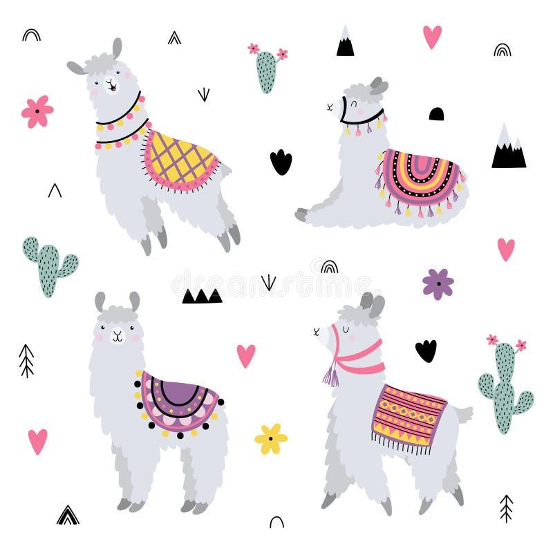 Le vecteur a placé avec les lamas mignons et les éléments décoratifs illustration libre de droits