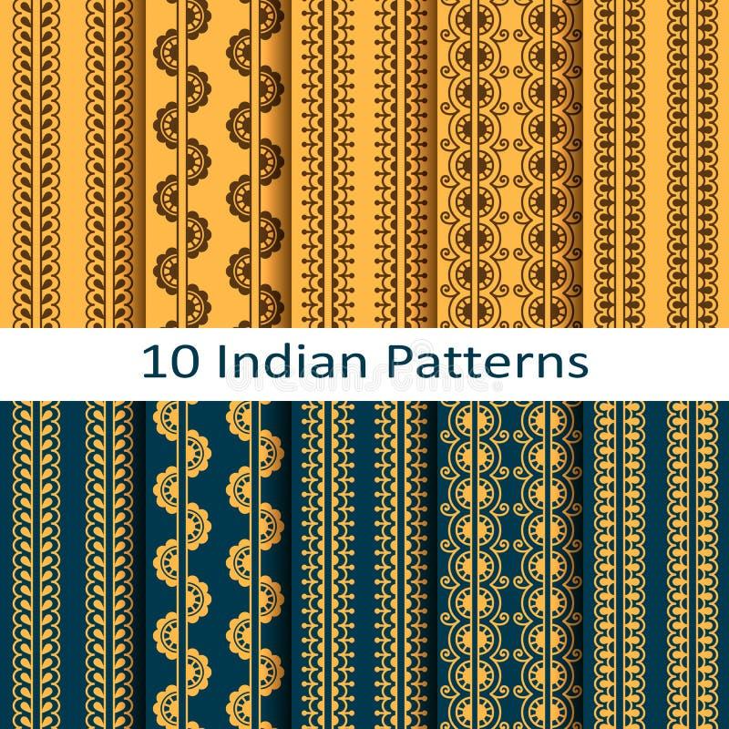 Le vecteur a placé avec les modèles sans couture traditionnels d'Indien de vecteur illustration libre de droits