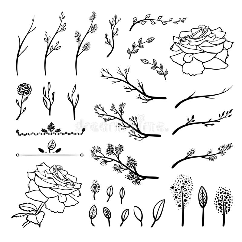 Le vecteur a placé des éléments tirés par la main, brindilles de ressort, pousses, feuilles, fleurs, dessins noirs, d'isolement illustration de vecteur