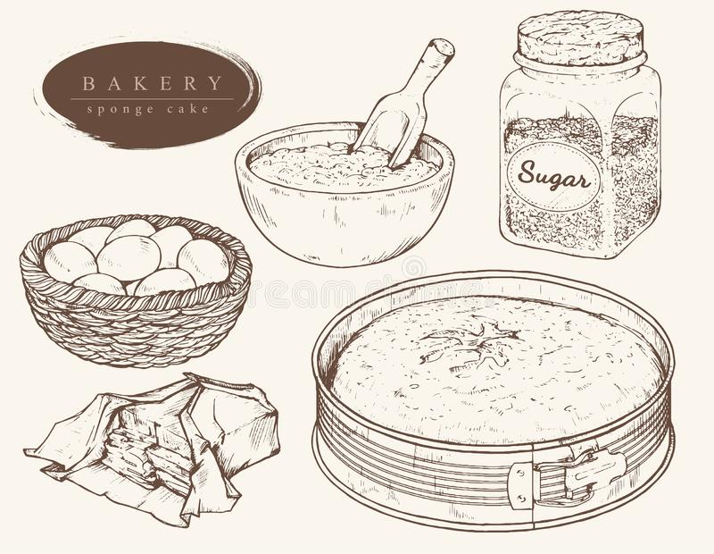 Le vecteur a placé des ingrédients pour le gâteau mousseline illustration libre de droits