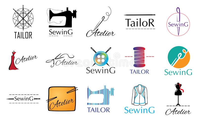 Le vecteur a placé des logos pour un atelier de couture, tailleur illustration stock