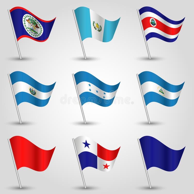 Le vecteur a placé les drapeaux de ondulation Amérique Centrale sur le poteau argenté - icône des états américains - Belize, Cost illustration de vecteur